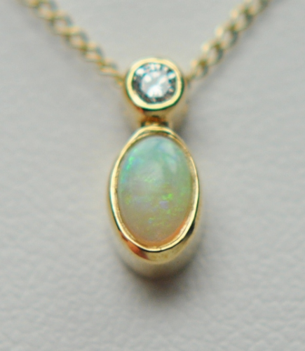 Opal And Diamond Yellow Gold Oval Necklace
